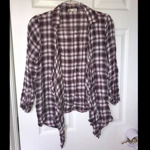 Sweaters - Red and white, thin flannel cardigan